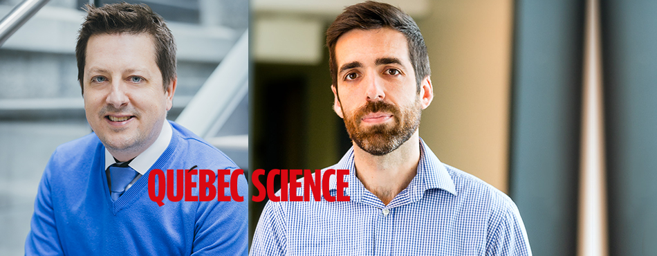 Les professeurs les professeurs Frédéric Leblond et Stéphane Kéna-Cohen, finalistes pour le prix du public Découverte Québec Science de l'année 2017